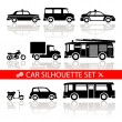 Car silhouette icons set with reflection vector — Stock Vector