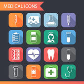 Retro Flat Medical Icons and Symbols Set vector — Stock Vector