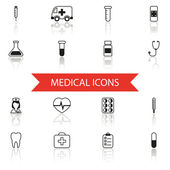 Simple Medical Icons and Symbols Set Isolated with reflection vector — Stockvektor