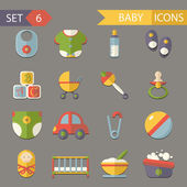 Flat baby and childhood icons symbols set vector — Stock Vector