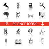 Simple Science and Research Icons Symbols Set Isolated with reflection vector — Stock Vector