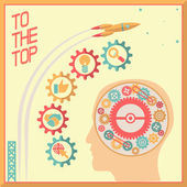 Retro Flat Design Businessman Head Thought Idea Generation Gear Wheel Icons Space Background Vector Illustration — Stock Vector
