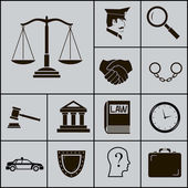 Law Justice Police Icons and Symbols Silhouette on Gray Background Vector Illustration — Stock Vector