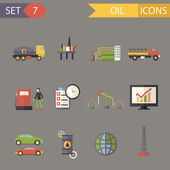 Retro Flat Oil Icons and Symbols Set Vector Illustration — Cтоковый вектор