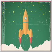 Retro Flat Design Rocket Start Space Stars Background Vector Illustration — Stock Vector