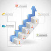 Success Steps Concept Arrow and Staircase Infographic Icons Vector Illustration — Stock Vector