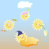 Den zdravého životního stylu slunce, sprchový kout, posilovna, koktejlové, spánek — Stock vektor