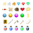 RPG game icons set potions, buttons, weapons, scrolls, money, crystals, books, warrior, mage vector illustration — Stock Vector