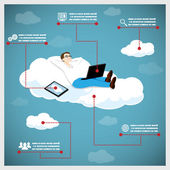 Happy Business Man on a Cloud Infographic Icons Tablet Computer Vector Illustration — Stock Vector