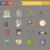 Retro Flat Law Legal Justice Icons and Symbols Set Vector Illustration — Stock Vector