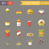 Retro Flat Fast Food Icons and Symbols Set Vector Illustration — Stock Vector