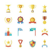Flat Design Awards Symbols and Trophy Icons Set Isolated Vector Illustration — Stock Vector