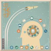 Retro Flat Design Businessman Head Thought Idea Generation Gear Wheel Icons Space Background Vector Illustration — Stok Vektör