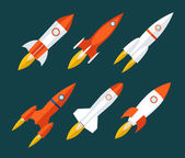 Rocket icons Start Up and Launch Symbol for New Businesses Innovation Development Trendy Modern Flat Design Icon Template Vector Illustration — Stock Vector