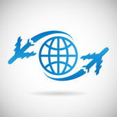 World Travel Symbol Airplane and Globe Icon Design Template Vector Illustration — Stock Vector