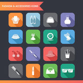 Flat Fashion Symbols Accessories Icons Set Vector Illustration — Stock Vector