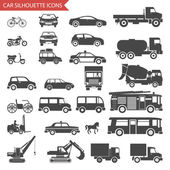 Autos und fahrzeuge-silhouette-symbole-transport-symbole-isoliert set vektor-illustration — Stockvektor