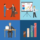 Obchodní partnerství dohody závěr statistiky růstu prezentaci konceptu sada ikon ve stylu retro pozadí moderní ploché vektorové ilustrace — Stock vektor