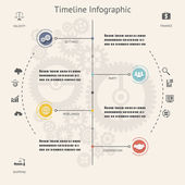 Timeline Infographics Elements Symbols and Icons Vintage Retro Style Design Template on Stylish Abstract Gears Background Vector Illustration — Stock Vector