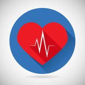 Healthcare and Medical Care Symbol Heart Beat Rate Icon Design Template Vector Illustration — ストックベクタ
