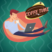 Vintage Geek Eager Beaver Symbol Man with Laptop Drinks Coffee Icon on Stylish Background Retro Cartoon Design Vector Illustration — Stock Vector