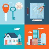 Retro Real Estate Symbols Private House Construction Plan Keys Set City Apartment Icons Trendy Modern Flat Design Template Vector Illustration — Stock Vector
