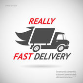 Fast Delivery Symbol Shipping Truck Silhouette Icon Design Template Vector Illustration — Stok Vektör