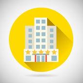 World Trip Symbol Best Star Hotel Inn Rest Icon on Stylish Background Modern Flat Design Vector Illustration — Stock Vector