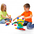 Children,playing with constructor — Stock Photo