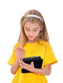 Meisje met e-boek — Stockfoto