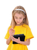 Mädchen mit e-book — Stockfoto