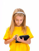 A child with an e-book — Stock Photo