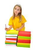 Girl with books isolated over white background — Stock Photo