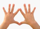 Children's hands depict — Stock Photo