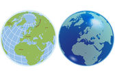 Two globes — Stock Vector