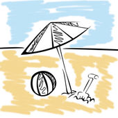 Silueta pláž s míčem a deštník — Stock fotografie