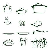 Cartoon illustration of set of kitchen tools — Zdjęcie stockowe