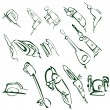 Cartoon illustration of electric tools — Stock Photo
