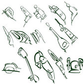 Cartoon illustration of electric tools — ストック写真