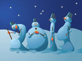 Illustration of snowmans going to new year — Stock Vector