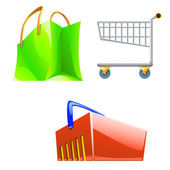 Illustraion of different type of shop bags coloured — Stock Vector