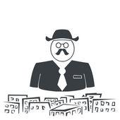 Ilustracja sylwetka biznesmen z wąsami powyżej cit — Wektor stockowy