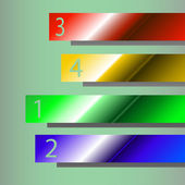 Illustraion of four different colours ribbons with numbers — Stock vektor