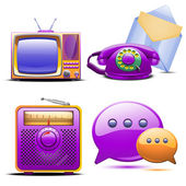 Set of retro stylized tv radio phone and mail — Stock Vector