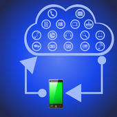 Cloud computing which showing how is working such technology — Stockvektor