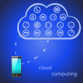 Iilustration of cloud computing which showing how is working suc — Stockvektor