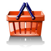 Illustration of red basket for shoping — Vector de stock