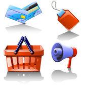 販売に使用するさまざまなアイテムのセット — ストックベクタ