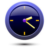 Illustration of simple blue wall clock — Stock Vector