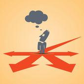 Crossroad businessman think — Stock Vector
